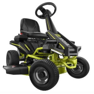 The Best Riding Lawn Mower Options: RYOBI 30 in. 50 Ah Electric Rear Engine Riding Mower