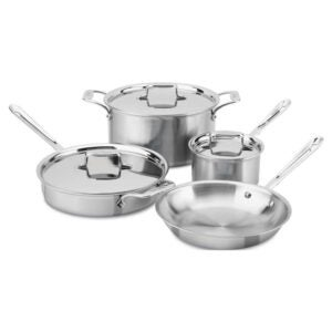 用于玻璃顶级炉灶的最佳炊具选项:全包不锈钢5级粘结炊具套装