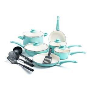 玻璃顶部炉灶的最佳炊具选项:Greenlife软握把健康陶瓷盆和平底锅套装
