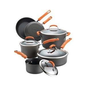 玻璃顶部炉灶的最佳炊具选项:Rachael Ray Brights铝合金不粘炊具套装