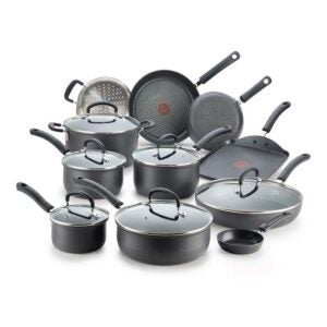 玻璃顶级炉灶的最佳炊具选项:T-FAL硬阳极氧化钛炊具套装