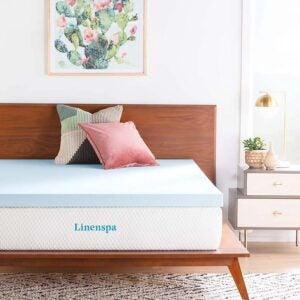 适用于侧枕的最佳床垫选择:Linenspa 3英寸凝胶浸泡床垫拓盖