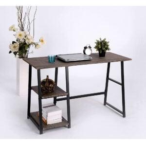 Best Desk Options: Vintage Brown Finish Computer Writing Study Trestle Desk