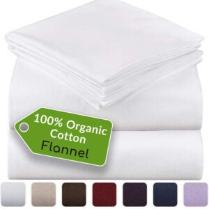 最佳法兰绒床单选项:Mellanni 100%有机棉法兰绒床单套装