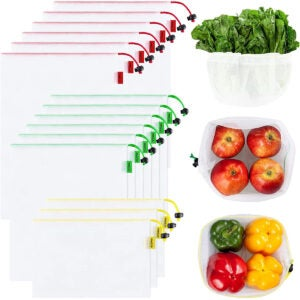 Best Reusable Grocery Bags Options: Ecowaare Set of 15 Reusable Mesh Produce Bags