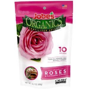 最佳玫瑰肥料选项:Jobe的有机物玫瑰和花肥尖刺
