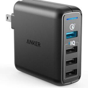 最佳USB墙壁充电器选项:ANKER快速充电3.0 43.5W 4端口USB墙壁充电器