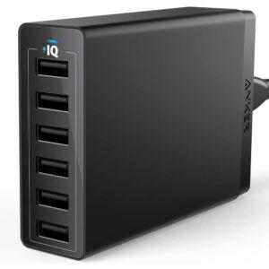最好的USB墙壁充电器选项:USB墙壁充电器,ANKER 60W 6端口