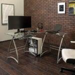 最好的L形桌面选项:Walker Edison现代角落L形玻璃桌