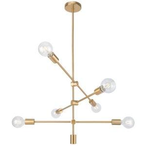 最好的吊坠灯选择:Dycus 6 Light Sputnik现代线性枝形吊灯