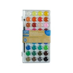 最好的水彩涂料选项:艺术家的阁楼36彩色基础水彩平底锅套装
