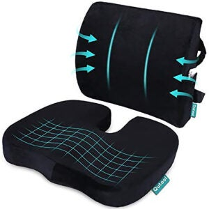 Office Cool Gel /& Memory Foam Gel Pillow Seat for Back Support Relieves Pressure on Legs Wheelchair Driving Spine Orthopedic Seat Cushion Comfort for Chair Cushions Tailbone Hips Plane