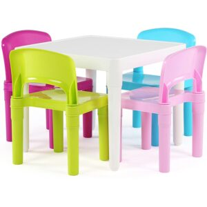 The Best Kids Tables Option: Humble Crew White Table_Pastel Chairs Plastic 4 Set