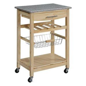 最好的厨房购物车选项:Linon厨房岛花岗岩顶部