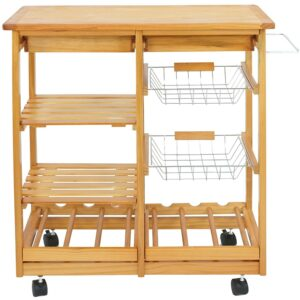 The Best Kitchen Cart Option: Nova Microdermabrasion Rolling Wood Kitchen Island