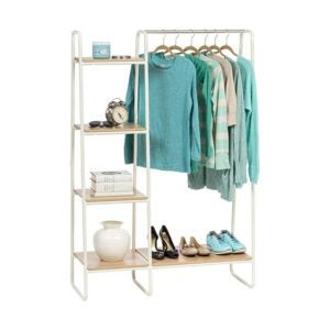 The Best Clothes Rack Option: IRIS USA 596241 Metal Garment Rack with Wood Shelves