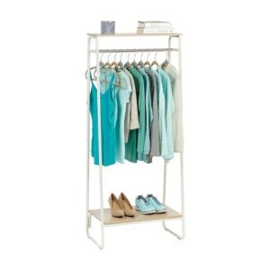 The Best Clothes Rack Option: IRIS USA Metal Garment Rack with 2 Wood Shelves