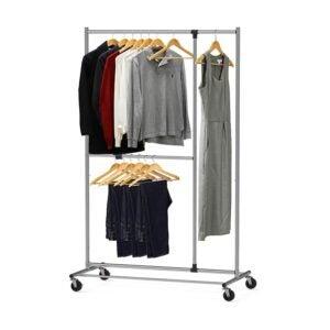 最好的衣架选项:简单的家居用品双杆可调节服装架