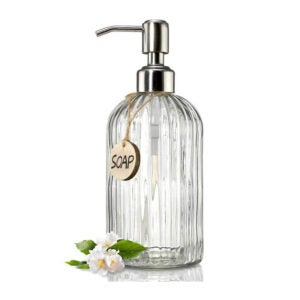 The Best Dish Soap Dispenser Option: JASAI 18 oz Clear Glass Soap Dispenser