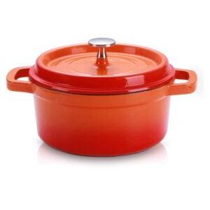 最佳荷兰烤箱选择:SULIVES搪瓷铸铁荷兰烤箱带盖,1.5qt