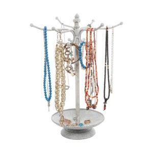 The Best Jewelry Organizer Option: MyGift Vintage Style Whitewashed Metal 12 Hook
