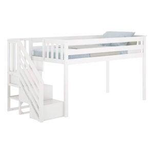 最佳高架床选择:Max & Lily双床带楼梯的低高架床