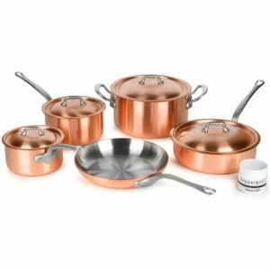 The Best Copper Cookware Option: Mauviel 2.5mm Brushed Copper Cookware Set, 9 Piece