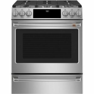 The Best Electric Range Option: Cafe 30 in. 5.7 cu. ft. Smart Slide-In Dual Fuel