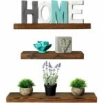 The Best Floating Shelves Option: Rustic Farmhouse 3 Tier Floating Wood Shelf