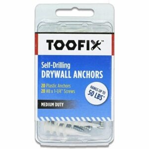 The Best Nails for Hanging Pictures Option: Toofix Self Drilling Drywall Anchors with Screws