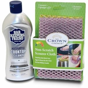 The Best Stove Top Cleaner Option: BAR KEEPERS FRIEND Cooktop Cleaner Kit