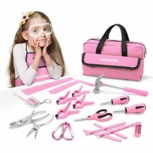 儿童最佳工具选项:WORKPRO 23件女孩工具包与真实的手工具