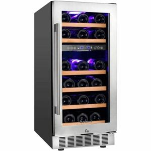 The Best Wine Coolers Option: Aobosi 15 Inch Wine Cooler, Dual Zone Refrigerator