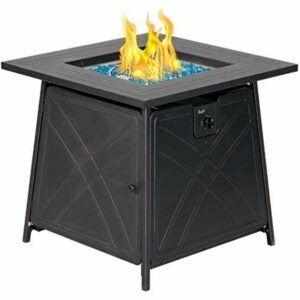 The Best Gas Fire Pit Option: ALI OUTDOORS Gas Fire Pit Table, 28 inch