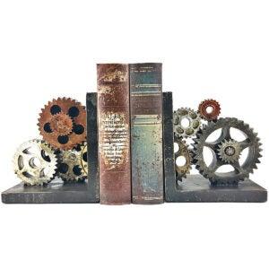 Best Bookends Options: Bellaa 20881 Gear Bookends Industrial Vintage