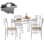 Best Dining Room Tables Options: VECELO Dining Table with 4 Chairs