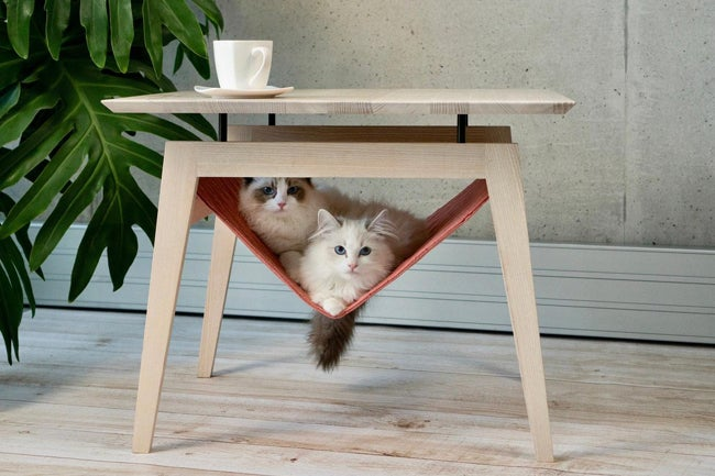 side table with cat hammock