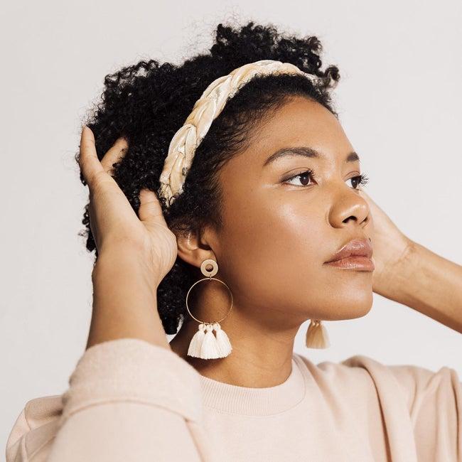headband and earrings