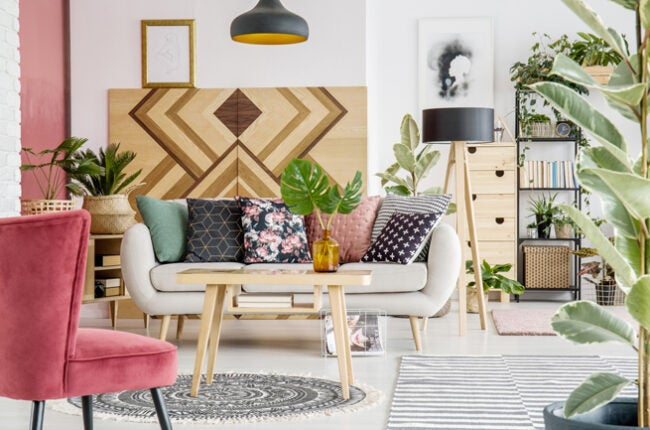 maximalism living room pink and wood