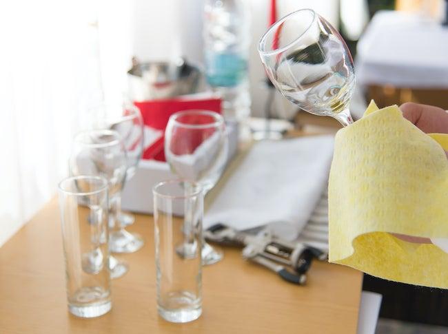 Polishing wine glasses