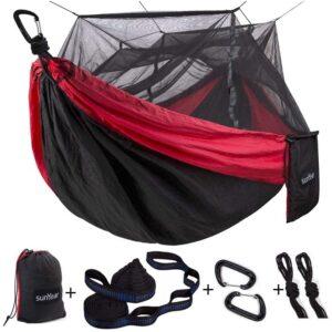 最佳露营吊床选择:带有蚊帐的Sunyear双露营吊床