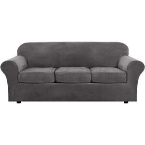 The Best Slipcovers Options: H.VERSAILTEX Velvet Plush 4 Piece High Stretch Sofa
