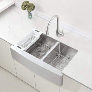 The Best Farmhouse Sink Option: The Best Farmhouse Sink Option ZUHNE Stainless Steel Double Basin Farmhouse Sink