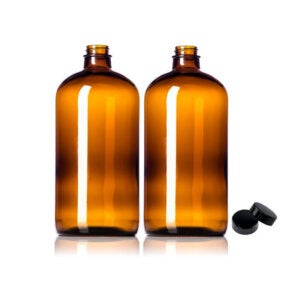 The Best Growler Options: 2 Pack ~ 32oz Amber Glass Growlers with Polycone Lids