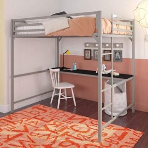 The Best Kids Bed With a Desk Option: DHP Miles Metal Full Loft Bed with Desk