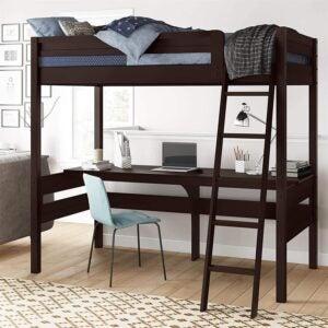 The Best Kids Bed With a Desk Option: Dorel Living Harlan Wood Loft Bed with Ladder