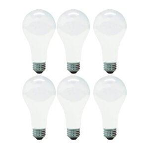 The Best Light Bulbs for Bathroom Options: GE Incandescent Light Bulbs, A21, 150-Watt, 6-Pack