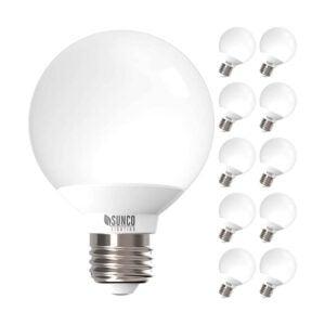 The Best Light Bulbs for Bathroom Options: Sunco Lighting 10 Pack G25 LED Globe, 6W=40W