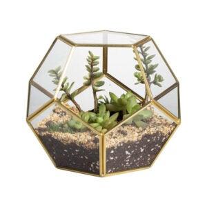 The Best Planters and Pots Option: NCYP Gold Glass Geometric Terrarium