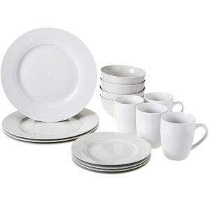 Best Dinnerware Set Options: Amazon Basics 16-Piece Kitchen Dinnerware Set